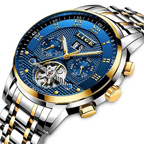 Mens Watches Top Brand Luxury LIGE Automatic Mechanical Watch Men Waterproof Full Steel Wrist Watch