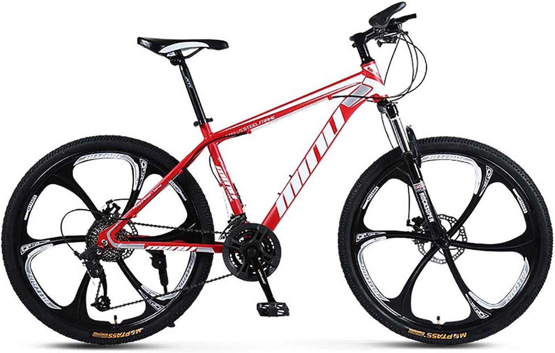 edición limitada FJW Bicicleta de Montaña Montaña Montaña Unisex, 26 Pulgadas Ruedas de 6 radios Marco de Acero de Alto Cochebono, 21 24 27 30 Velocidad Ajustable Bicicleta MTB con Frenos de Disco y Horquilla de suspensión,rojo,21Speed  moda clasica