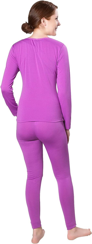 Womens Lightweight Ultra Soft Microfiber Fleece Lined Thermal Underwear Long John Set ( Medium, Purple)