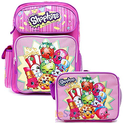 Shopkins School Backpack Set 16' Large Backpack with Lunch Bag