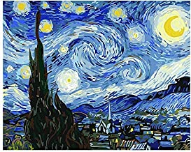 Goodern Paint by Numbers DIY Oil Painting Van Gogh The Starry Night Canvas Oil Painting by Digital Numbers for Kids Adults...