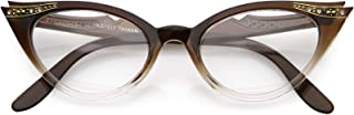 Vintage Cateyes 80s Inspired Fashion Clear Lens Cat Eye Glasses with Rhinestones Linda Belcher Bob`s Burgers