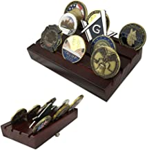 Indeep 4 Rows US Army Military Collectible Challenge Coin Display Stand Holder Wooden