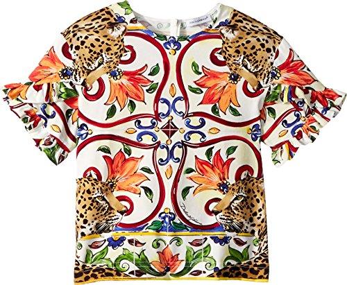 Dolce & Gabbana Kids Girl's T-Shirt (Toddler/Little Kids) Natural Print 5 (Little Kids)