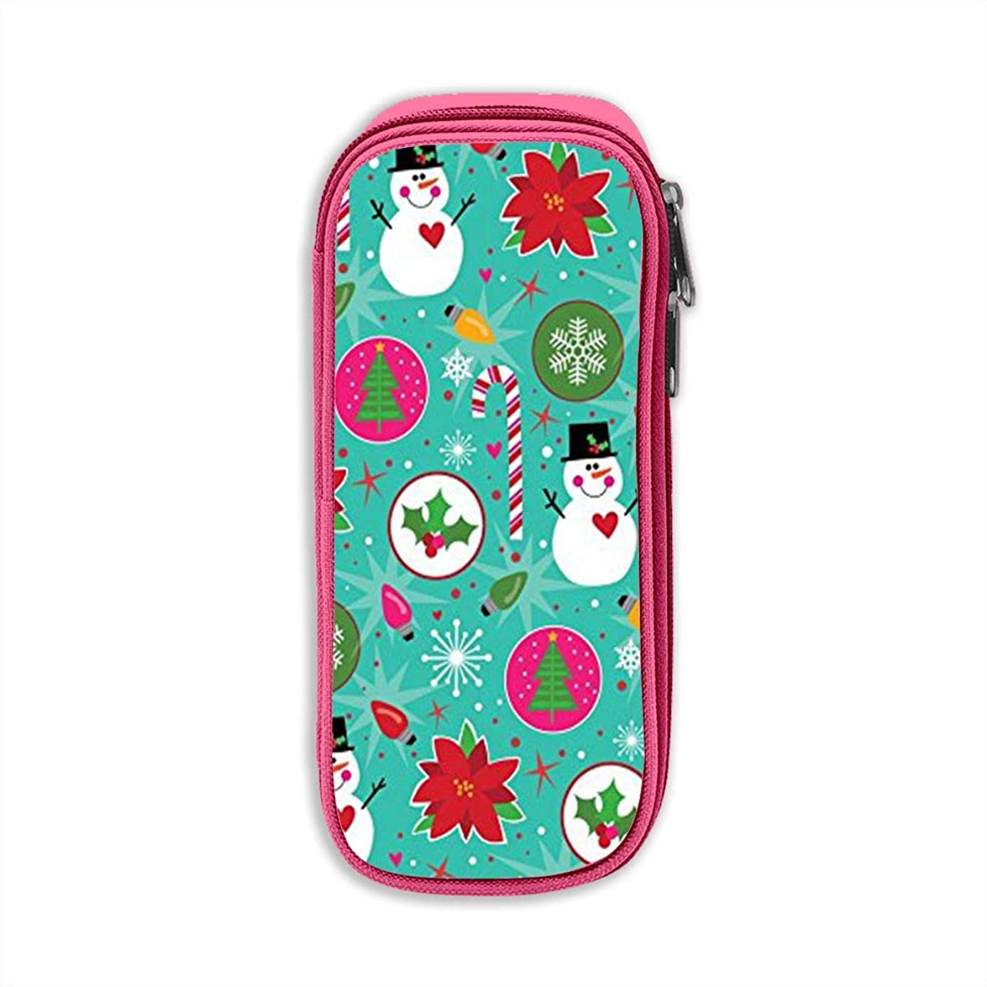 Christmas Snowman Pen Case Pencil Pouch Bag for Student Office Cosmetic Makeup Bag Storage Pink