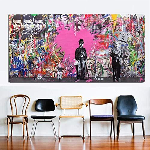 N / A La impresión Grande del Arte de la Calle Rosada el Amor de la Persona Famosa es Colorida Respuesta impresión del Cartel del Arte Pintura sin Marco 20cmX40cm