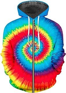 Zipper Men Fashion 3D Hoody Print Rainbow Streetwear Large Size Clothes Sweatshirts