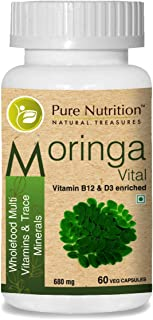 Pure Nutrition Moringa Vital with Vitamin B 12 and D 3. A Rich source of Antioxidants. helps reduce inflammation. Improves digestion and boost immunity.