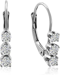 3 stone diamond dangle earrings