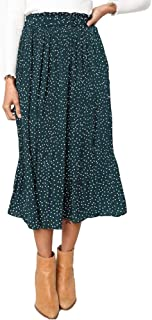 Womens High Waist Polka Dot Pleated Skirt Midi Maxi Swing Skirt with Pockets
