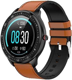 LTLJX Reloj Inteligente Hombre Mujer, Smartwatch Redondo Deportivo con (Monitor de Ritmo Cardíaco/Sueño/Calorías) Reloj Fitness Impermeable con Podómetro,Cronógrafo,Notificación de Mensaje,Marrón