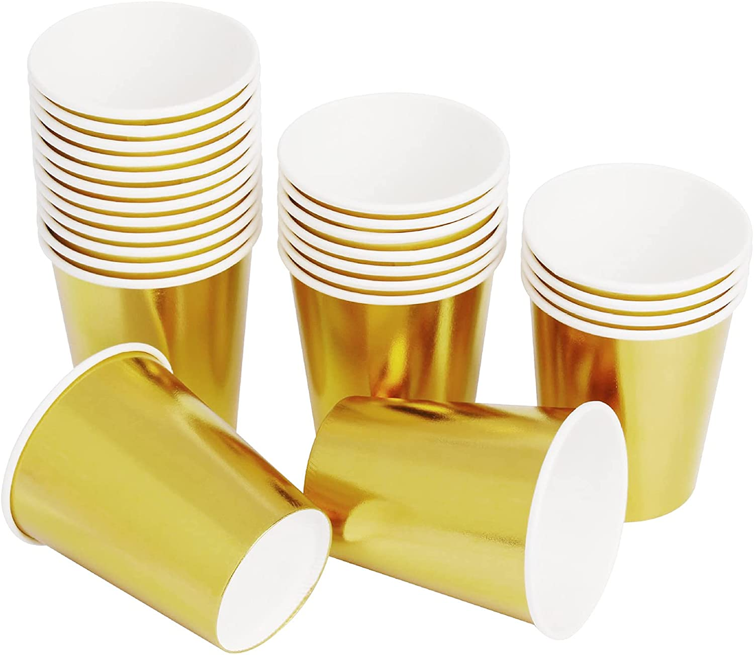 Gold Paper Cups 9 oz [50 pack] Disposable Cups for Hot Cold Drinks Tea Coffee Water Milk Juice - Fashion Glitter Champagne Gold Design for Picnic Home Party Birthday Wedding Anniversary Christmas