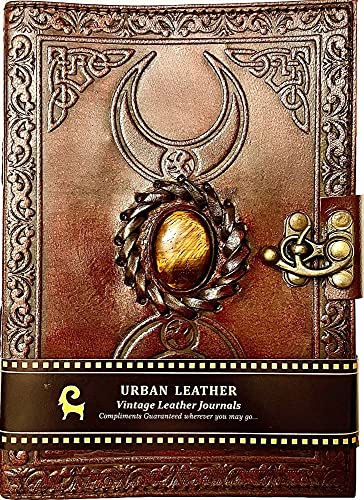 Urban Leather 3 Celtic Moon Tiger Stone Journal with Deckle Edge Vintage Paper, Grimoire Journal Book of Shadows Witchcraft Wiccan Spellbook, Unlined