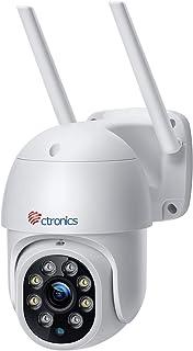 Ctronics WiFi 防犯カメラ 屋外 監視カメラ ネットワークカメラ 動体検知 カラーナイトビジョン 赤外線暗視撮影 パンチルト機能 355°/90° 双方向音声会話 5dBi WiFi強化アンテナ フルHD1080P スマート追跡 ス...