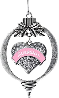 Inspired Silver - Pink Script Survivor Breast Cancer Support Charm Ornament - Silver Pave Heart Charm Holiday Ornaments with Cubic Zirconia Jewelry