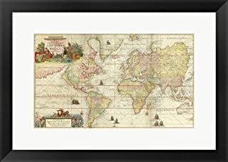 World Map by Gerard Van Keulen by Vintage Lavoie Framed Art Print Wall Picture, Black Frame, 23 x 17 inches