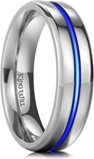 King Will Loop Unisex 6mm Thin Blue Line Titanium Ring High Polished Wedding Band Comfort Fit