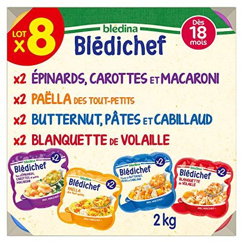 Blédina Blédichef, Repas bébé, Dès 18 Mois, 4 Recettes, 8x250g