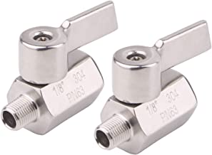 DERNORD 1/8 Inch Stainless Steel Mini Ball Valve NPT FxM Thread with Stainless Handle(Pack of 2)