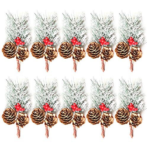 10pcs Christmas Floral Arrangement, Red Berry Stems Artificial Pine Picks for Christmas Tree Decorations, Flower Wreaths, Garlandsand Holiday Winter