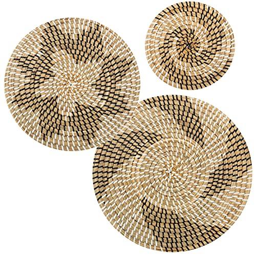 Set of 3 Rattan Handmade Hanging Wall Basket Decor - Decorative Boho Round Wicker Woven Flat Baskets...