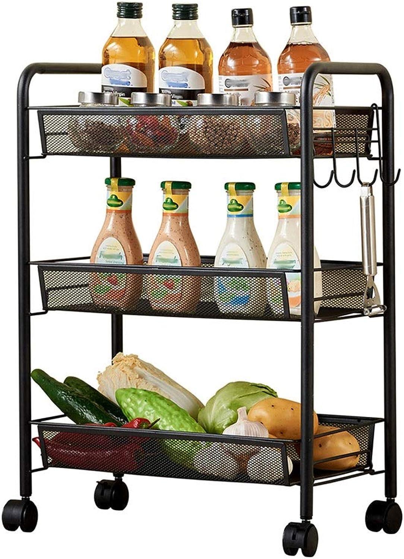 Storage Rolling Cart Shelf,3 Tier Metal Mesh Multifunctional Basket Utility Storage Cart for Kitchen Bathroom Home Office (Black)