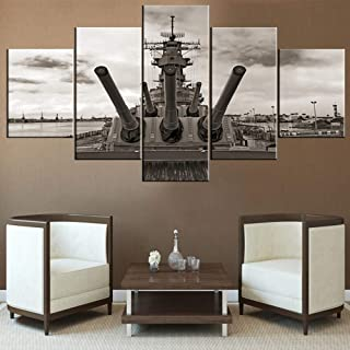 Boat Wall Art for Living Room USS Missouri Battleship Paintings Pearl Harbor Pictures Multi Panel Prints Artwork on Canvas Modern Home Decor Wooden Framed Gallery-Wrapped Ready to Hang(60''Wx32''H)