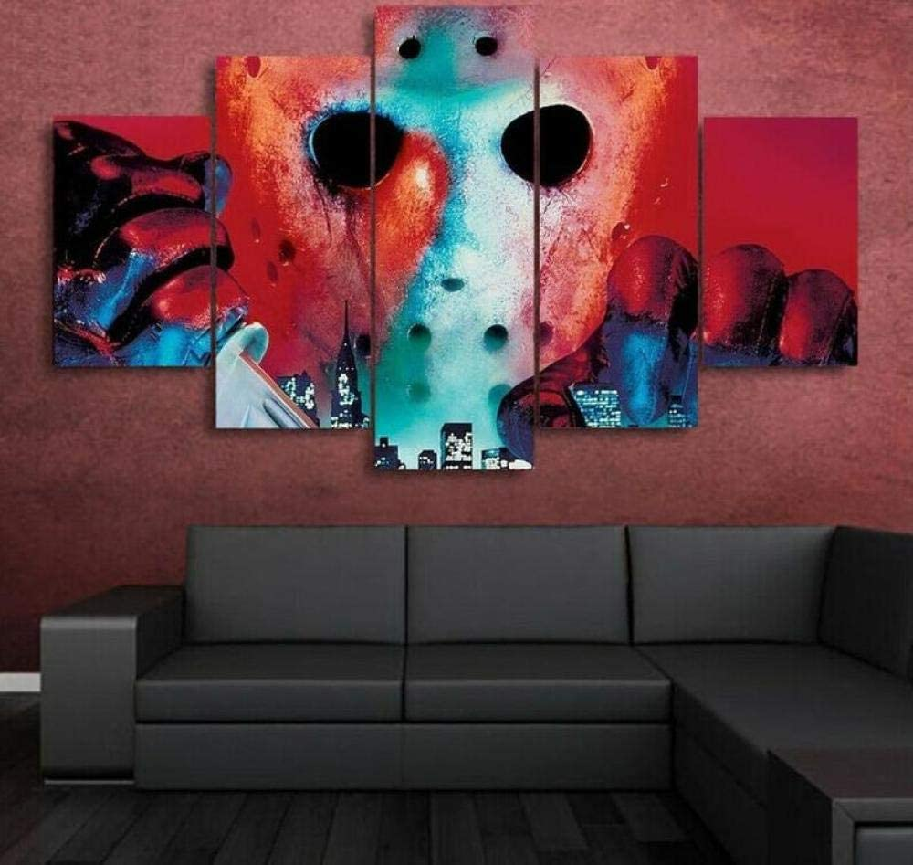 ASFQW Print Canvas 5 Pieces Wall J Horror The 150X80cm 訳あり Décor 『4年保証』 Art