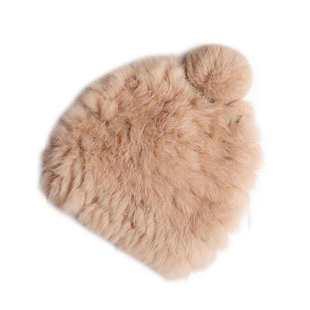 Joyci Solid Color Natural Rabbit Fur Hats Fur Pom Pom Beanie Warm Caps
