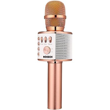 BONAOK Wireless Bluetooth Karaoke Microphone,3-in-1 Portable Handheld Karaoke Mic Speaker Machine Home Party Birthday for All Smartphones PC(Q37 Rose Gold)