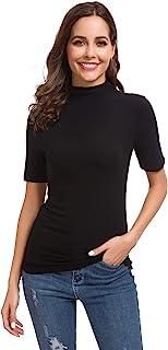 Women's Basic Long/Short Sleeve High Turtle Mock Neck/Crew Neck Slim Fit Rayon Plain Tees Shirts Top