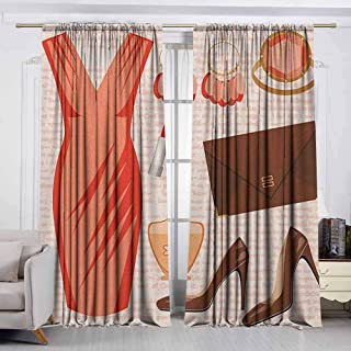 VIVIDX Outdoor Patio Curtains,Heels and Dresses,Accessories Fashion Cocktail Dress Lipstick Earrings High Heels,Rod Pocket Drapes Thermal Insulated Panels Home décor,W72x72L Inches Salmon Brown Peach