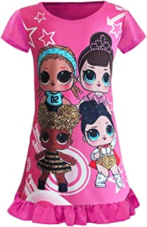 WNQY Surprise Princess Pajamas Little Girls Nightgown Dress for Doll Surprised