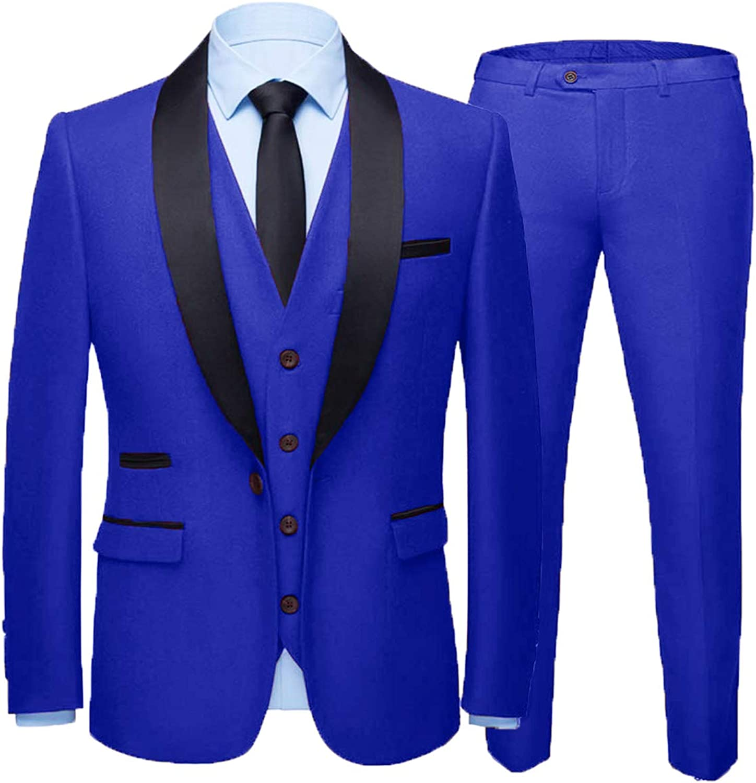 Everbeauty Wedding Suits for Men 3 Pieces Slim Fit Tuxedo Fashion Shawl Lapel Prom Dress Suit Blazer EXZ015