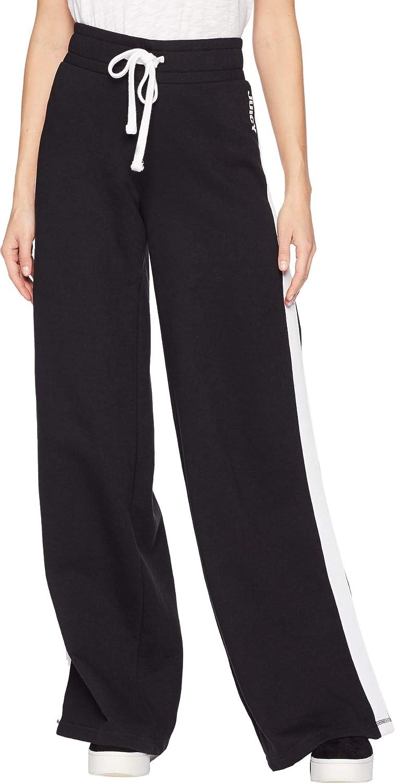 Juicy Couture Pitch Black Track Fleece Wide Leg Pants