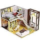 Oshide Puppenhaus Bausatz Holz Modell Set Möbliert Zimmer,Dollhouse DIY Kit Geschenk für Jungen...