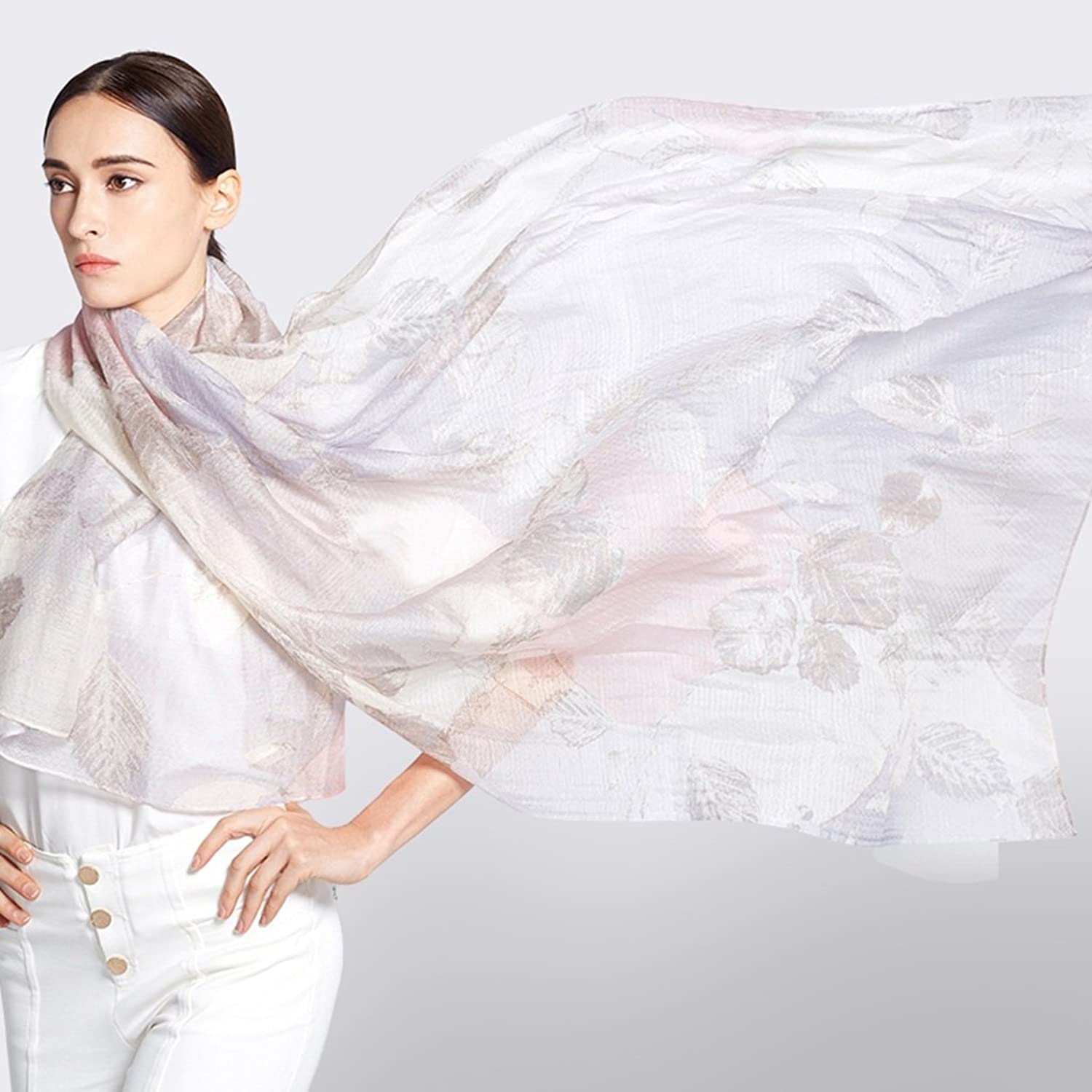 Fashion Scarves Women Accessories Scarves Wraps Scarf high  Grade Silk Scarf Printing Thin Section of Large Girl Shawl (color   A )