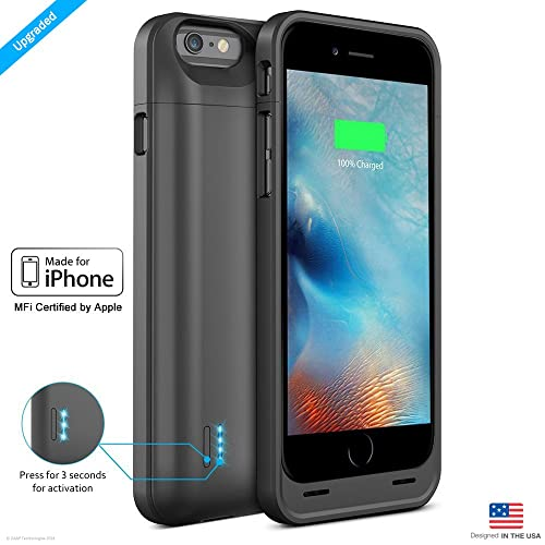 ZAAP iPhone 6/6S Battery Case/Charging case/3100 mAh Slim Power Bank (Black)