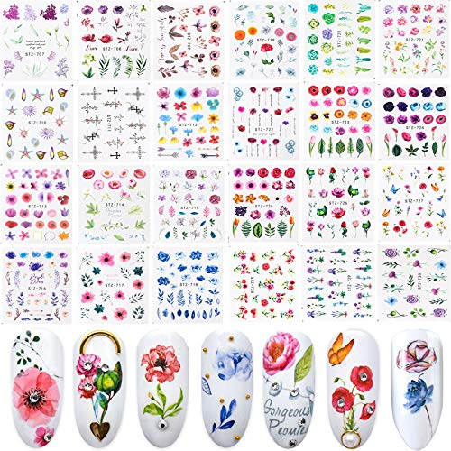 24 Sheets Nail Stickers, New Water Transfer Art Nail Design, Aluminum Foil Sticker Set Over 500 Watercolor Flower World Plant Nail DIY Decoration Kit