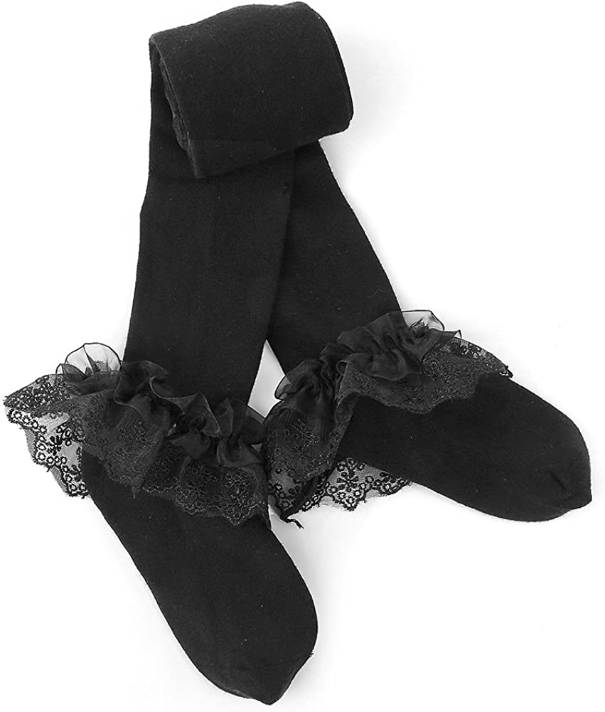 Maxu Girl Knee High Long Frilly Lace Socks for Toddler//Little Kid//Big Kid