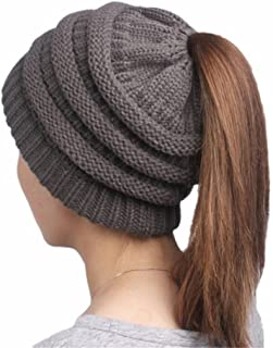 BLUECELL Women's Colorful Beanie Hats with Ponytail Hole Knit Beanies Warm Winter Chunky Skull Cap for Sports Outdoor,Dark Gray