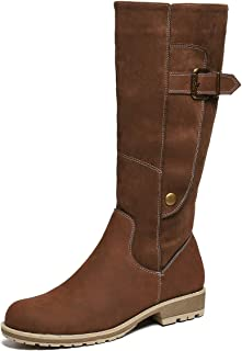 gracosy Knee High Boots for Women, Long Boot Handmade Suede Leather Winter Anti-Slip Mid Calf Bootie Warm Fur Lined Side Z...