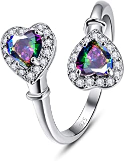 Veunora 925 Sterling Silver Plated Lab-Created 2 Hearts Adjustable RingPromise Proposal Engagement Wedding Rings for Women Girl