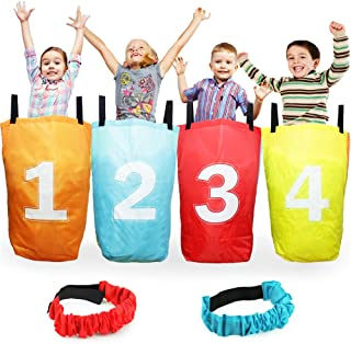Boley 4 Pack Sack Race Bag Set and 2 Piece Leg Straps – Includes 4 Burlap Sack Race Bags and 2 Velcro Leg Straps for Three Legged Relays – Great for Outdoor Party Activities, Picnics, Birthday Parties