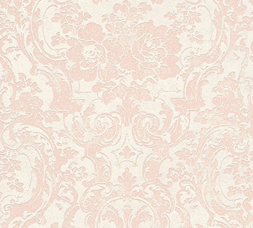 Livingwalls Vliestapete Moments Tapete mit Ornamenten barock 10,05 m x 0,53 m beige metallic rosa Made in Germany 328313 32831-3