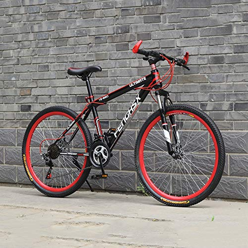 YXWJ 21/24 Velocidad de montaña Adultos Bike Frame Acero de Alto Carbono y aleación de Aluminio de 24/26 Pulgadas, Llantas de Bicicletas estáticas Marco de la Pintura de Choque Anti-Slip