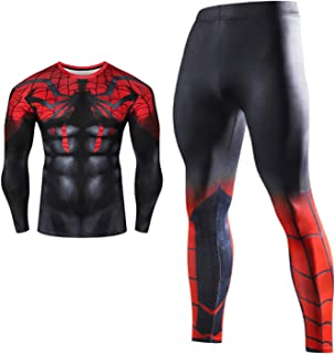 Cosplay Men's Activewear Full Tight Long Top and Bottom Set,Short Sleeve Base Layers T Shirts Compression Pants Lightweigh...