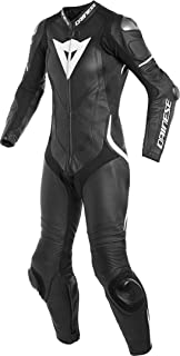 Dainese Women's Laguna Seca 4 Perforated Leather One-Piece Suit (40) (Black/Black/White)