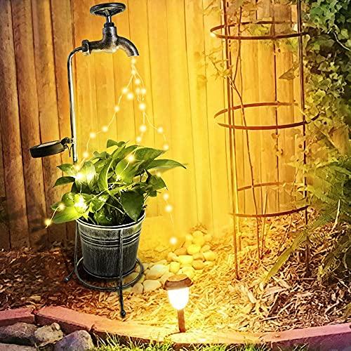 lámpara LED de arte con ducha con lámpara de hadas solar de columna Lámpara LED de iluminación al aire libre Lámpara de paisaje, usado en la acera de la corte de jardín, la luz de la maceta del grifo