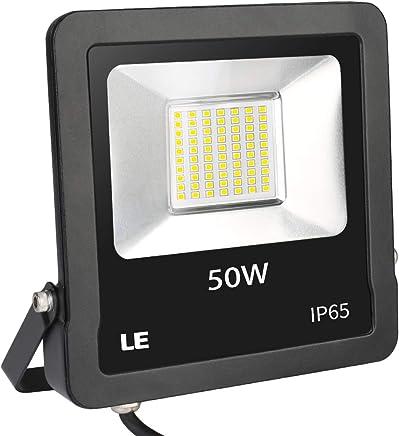 LE Foco LED  de 50 W, 4000 lúmenes, IP65 resistente al agua, 5000 Kelvin, luz blanca fría, adecuado para jardín, garaje, hotel, patio, etc.